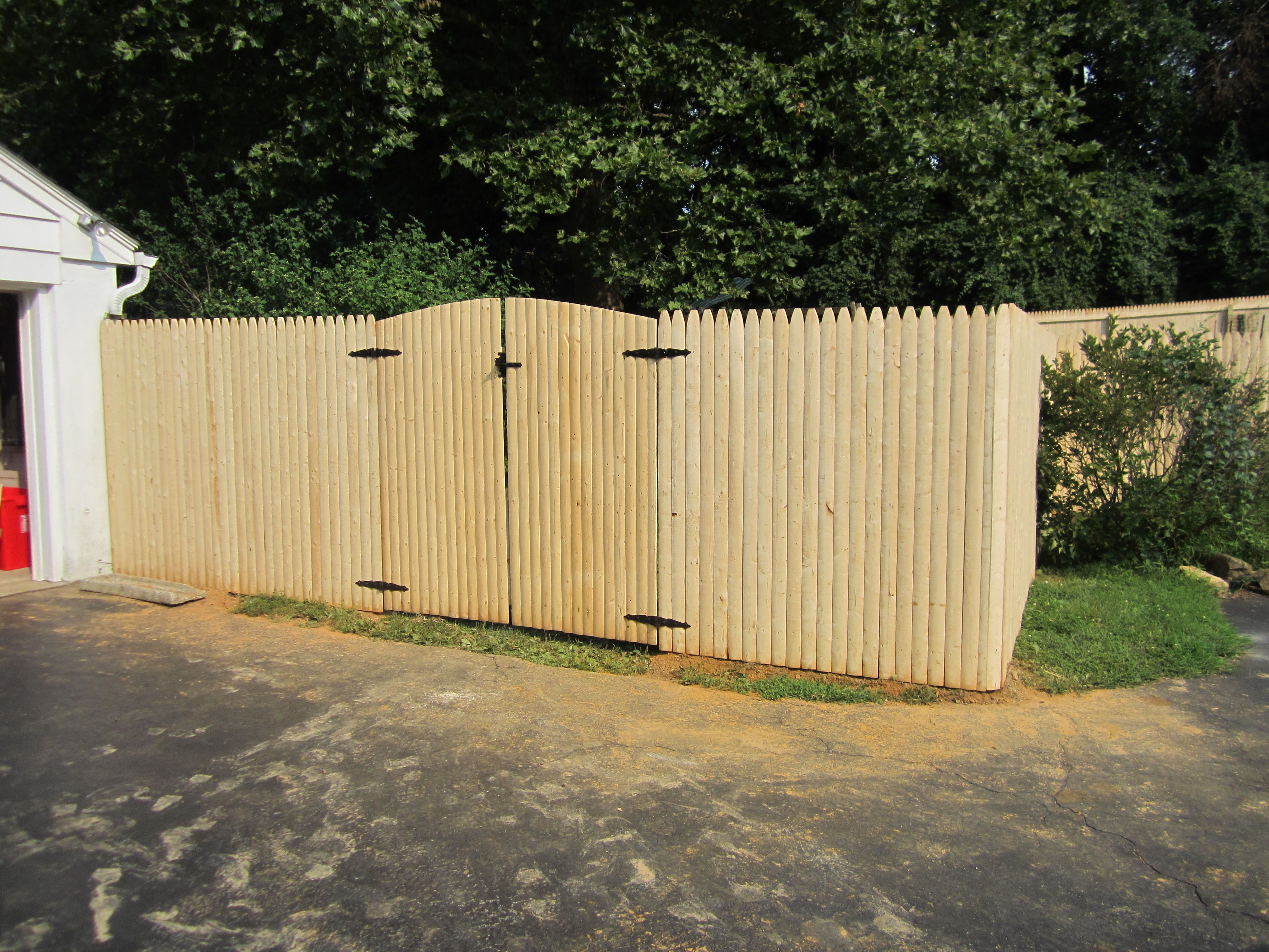 6 Spruce Stockade With A Convex Gate Wooden Fence Panels Fence Panels Wooden Fence
