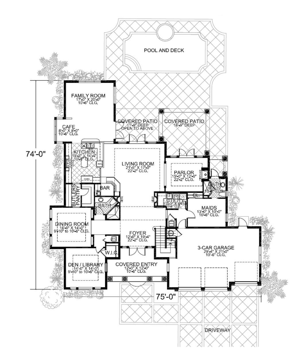Mediterranean Style House Plan - 5 Beds 5 Baths 4984 Sq/Ft Plan #420 ...