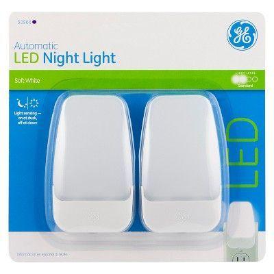 Ge Automatic Led Night Light 2 Pack 30966 White Led Night Light Night Light Led