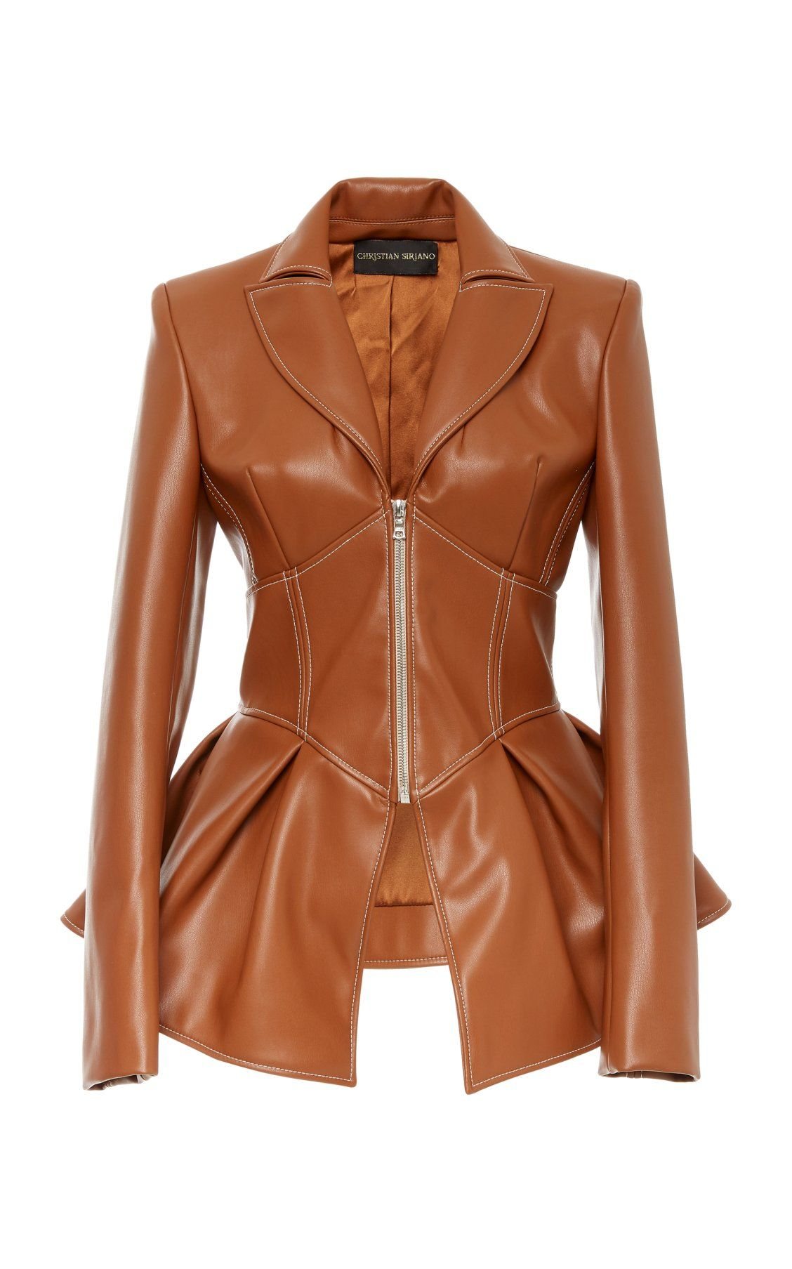 Faux Leather Corset Jacket By Christian Siriano Moda Operandi Leather Look Jackets Leather Corset Brown Faux Leather Jacket