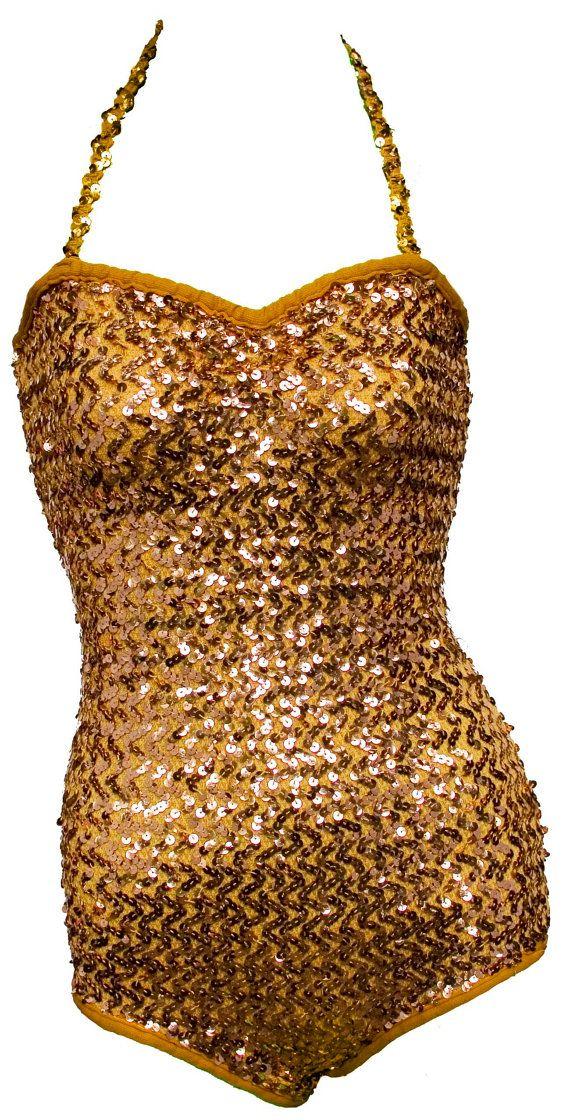 d9362a338 1960s Small Leotard Onesie Bathing Suit Romper Gold Sequin Glitter Dance  Burlesque Exotic Show Girl Circus Performer Burning Man Gymnastics