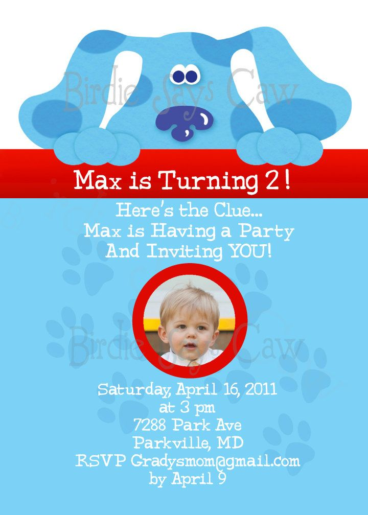 17 best images about Blues Clues 2nd birthday party – Blues Clues Party Invitations