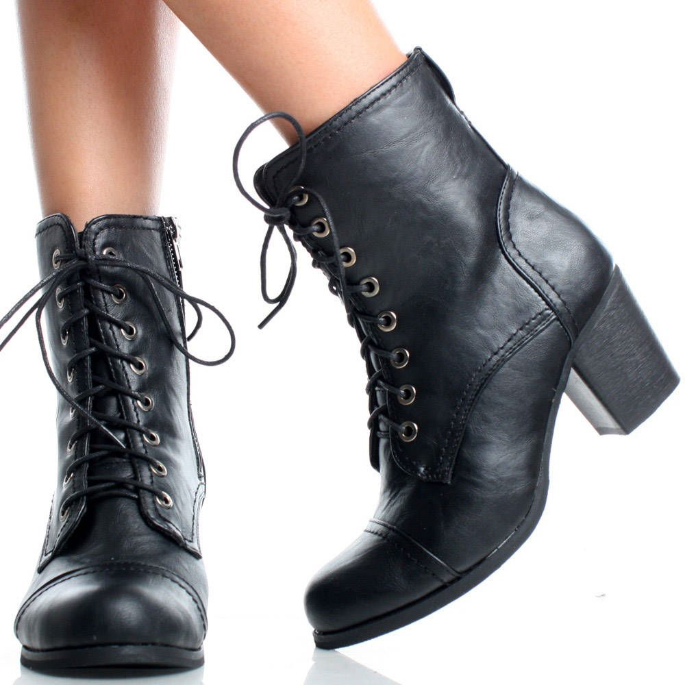 High Heel Combat Boots - Cr Boot