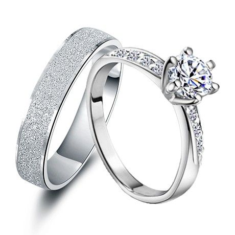 Engravable Carat Synthetic Diamond His And Hers Anniversary Rings Set S Wedding Gifts For 2 Personalized