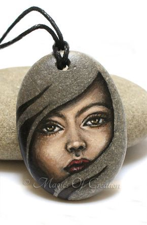 Painted stone pendant: girl portrait, hand painted acrylic painting on river stone, original art jewelry for her by Magics of Creation