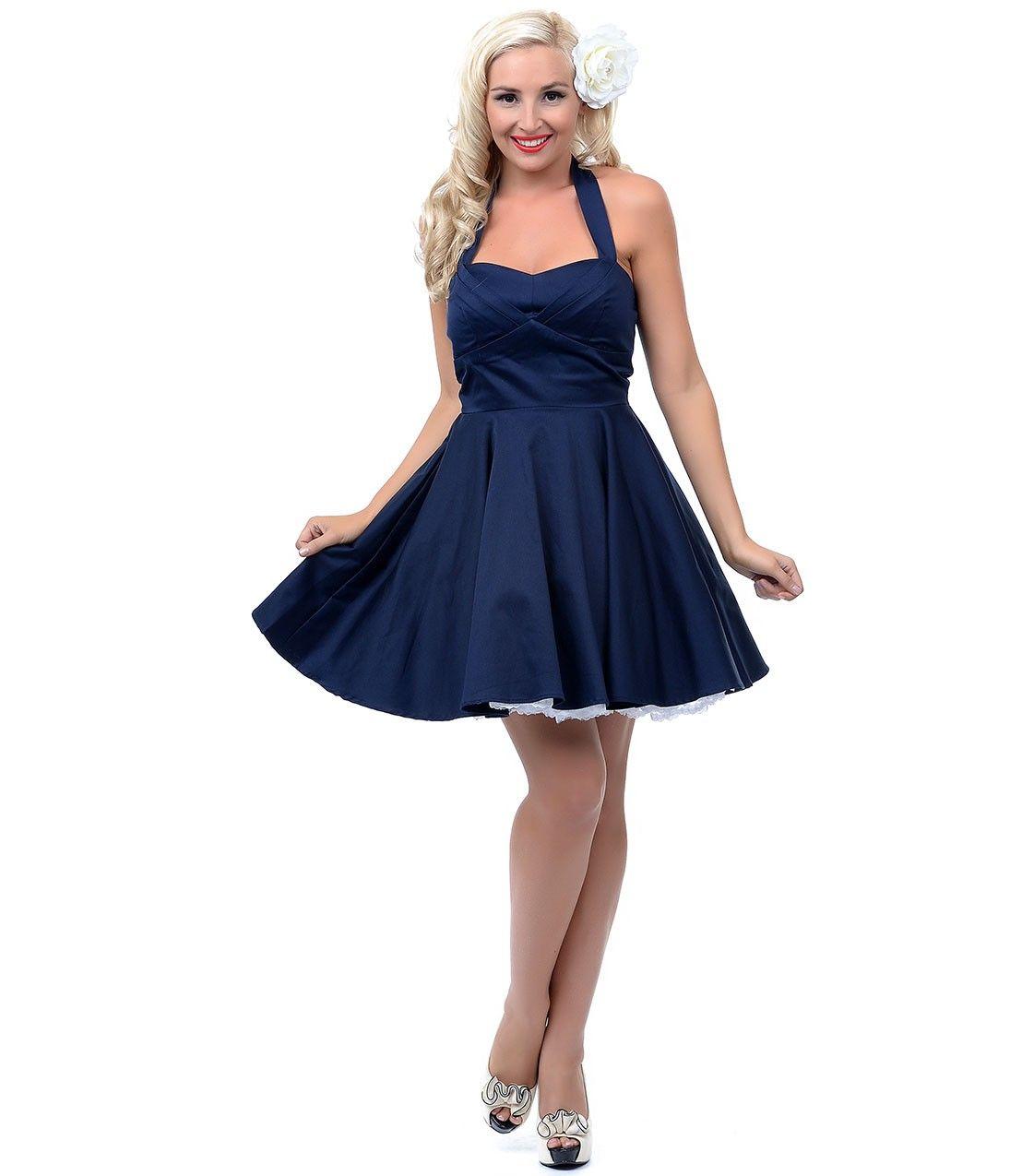 Halter Navy Dress