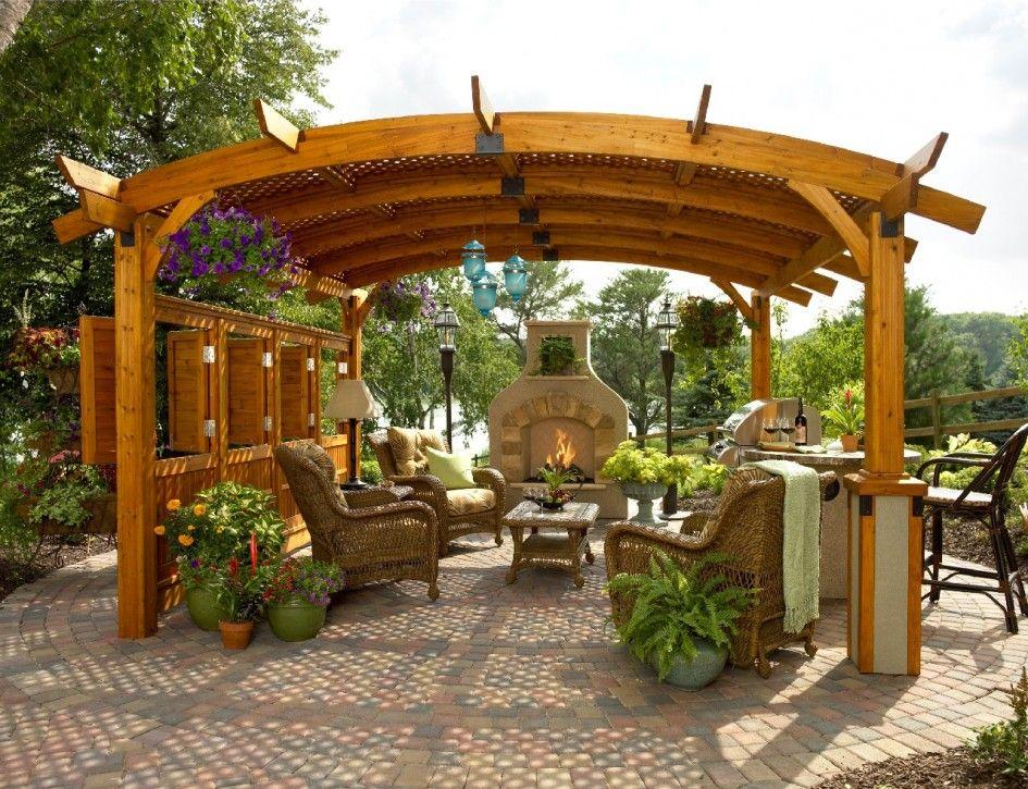 Ravishing Outdoor Living Space Stone Fireplace Brown ...