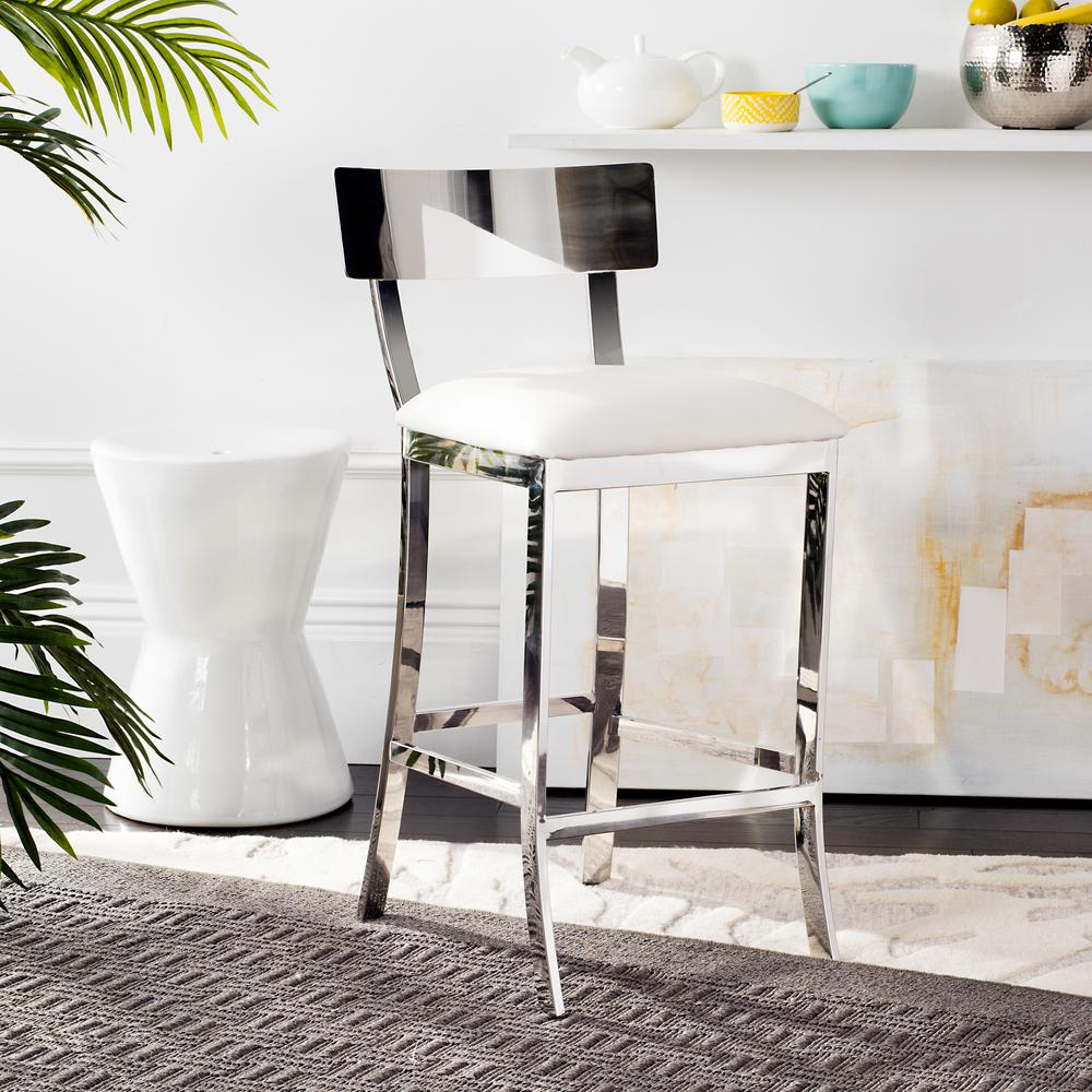 Safavieh Abby 26 5 In Stainless Steel Counter Stool In White