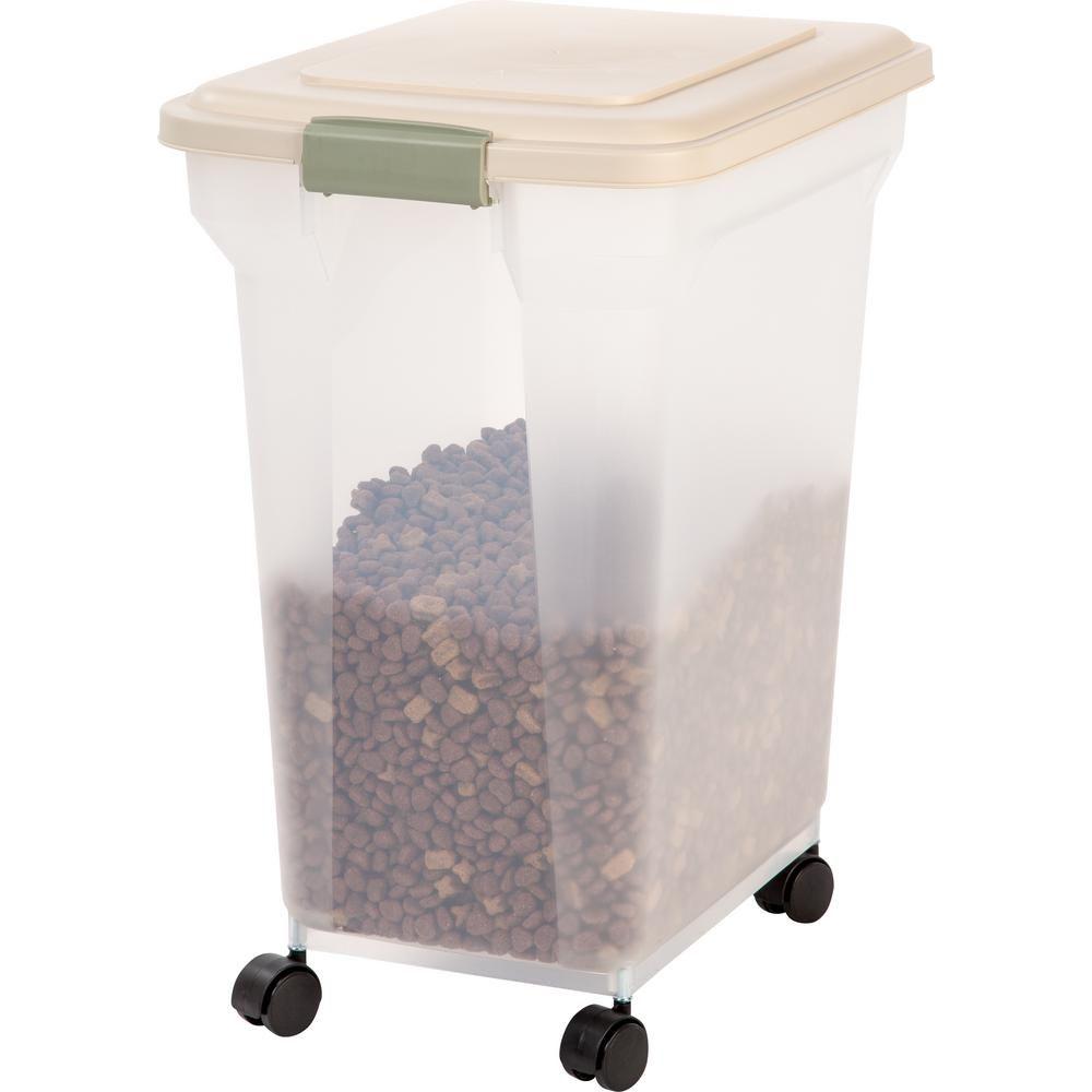 Iris 55 Qt Airtight Pet Food Storage In Almond 300662 The Home