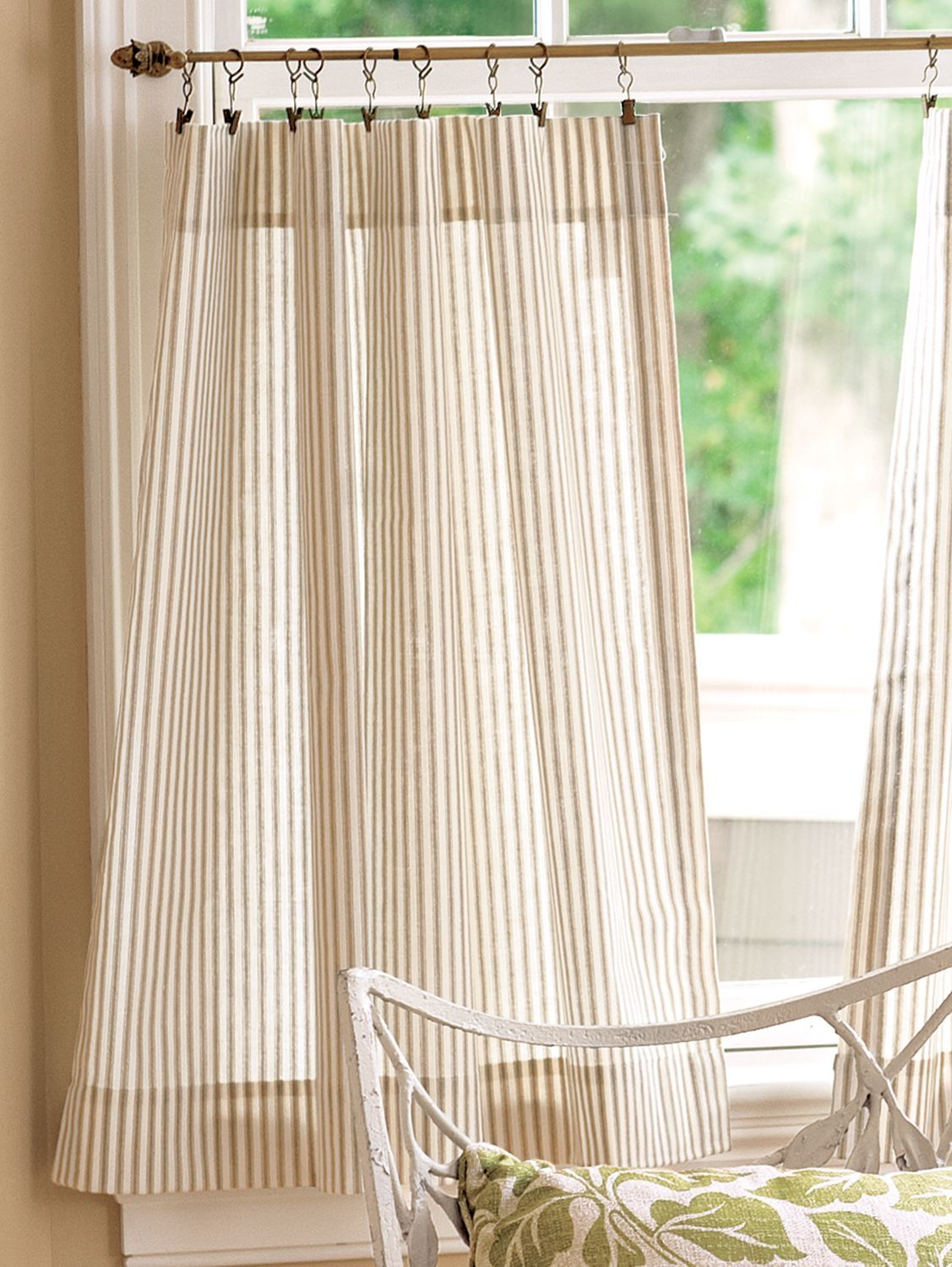Ticking Stripe Rod Pocket Tiers Pons In 2019 Bathroom