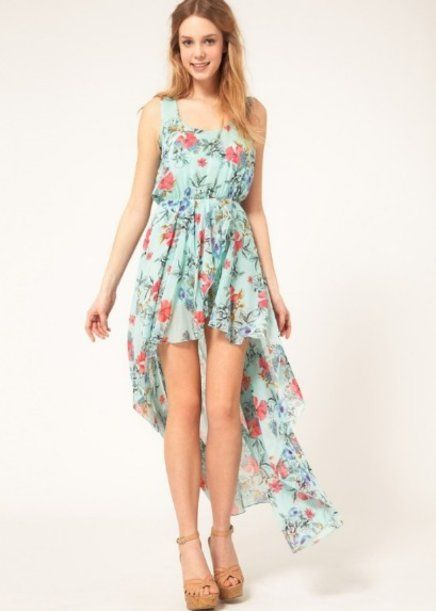 a4789233bd Vestido Mullet Azul ou Verde Tiffany estampado flores Verão no Airu ...