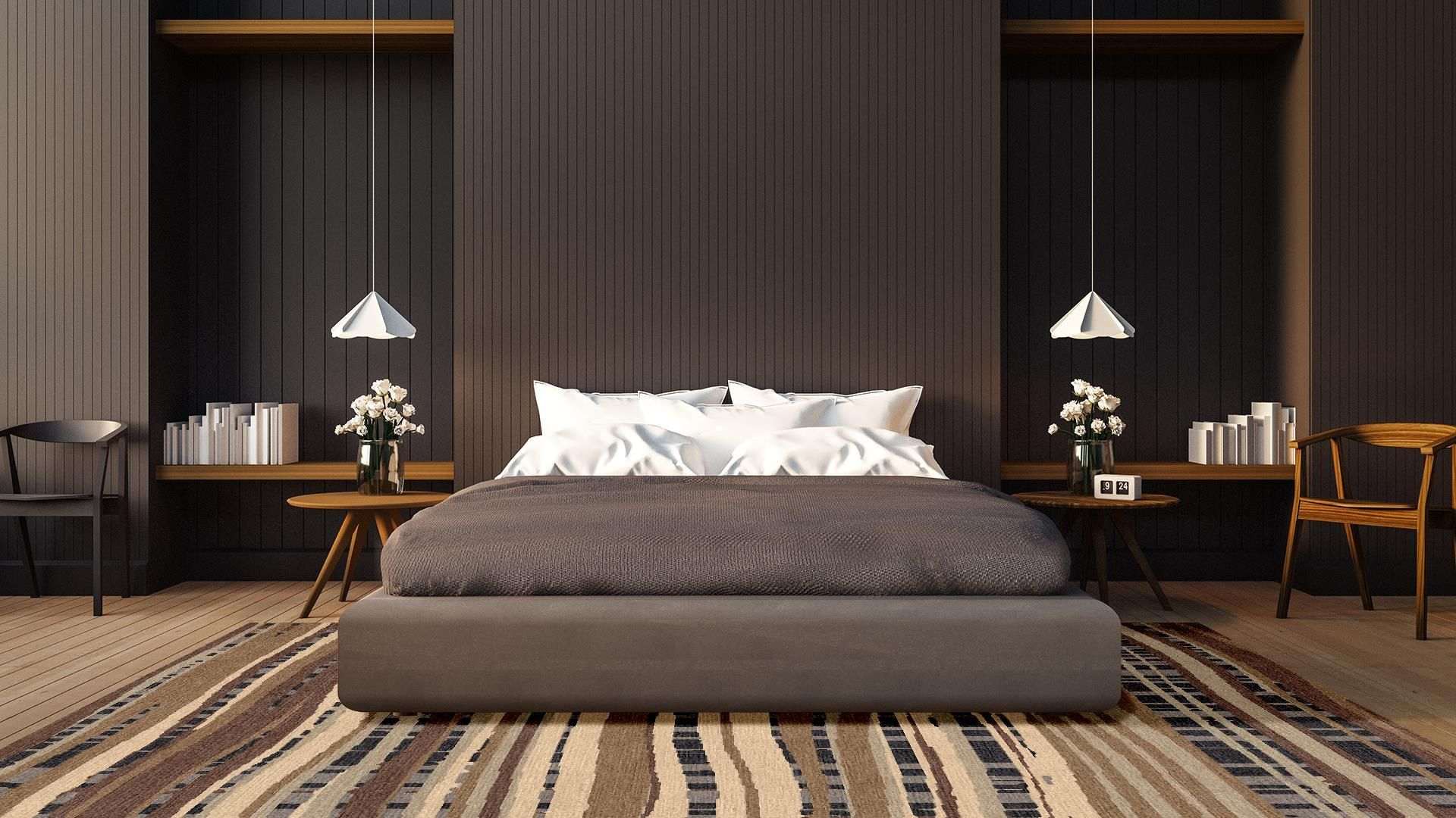 The Ageition rug in a bedroom scene. customrugs,