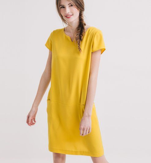 Robe chic jaune moutarde