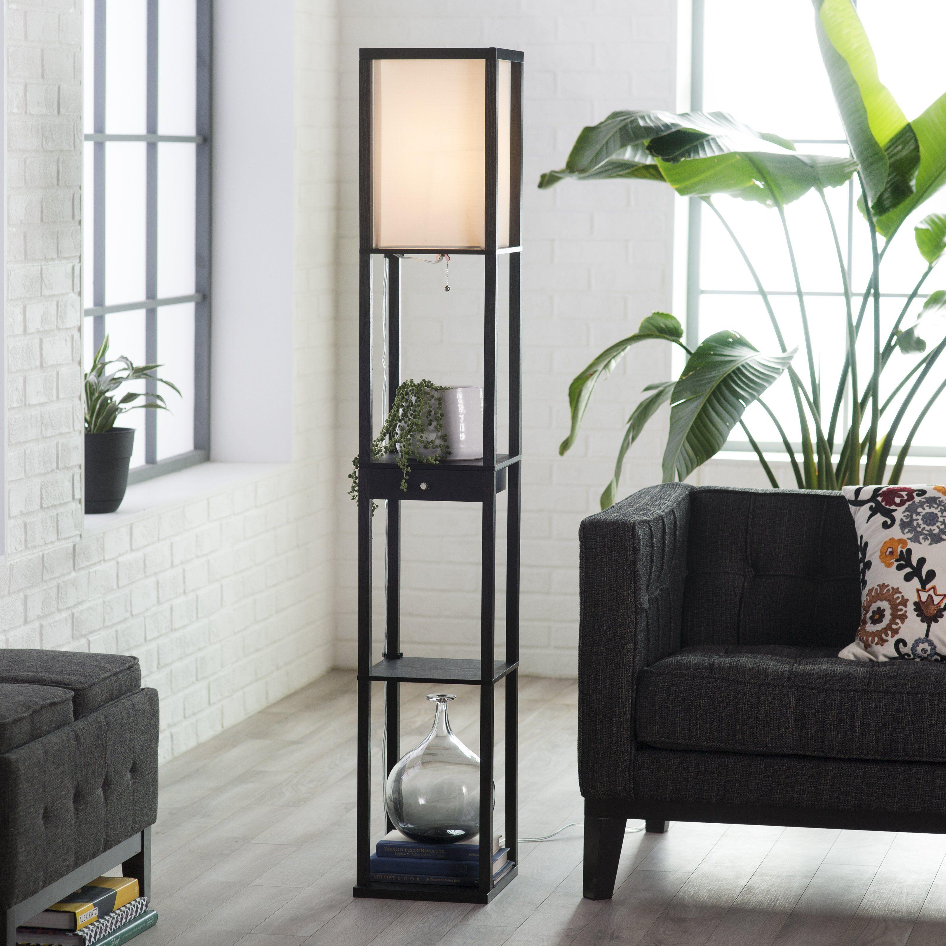 Adesso Parker 3133 Shelf Lamp with Drawer Black Floor