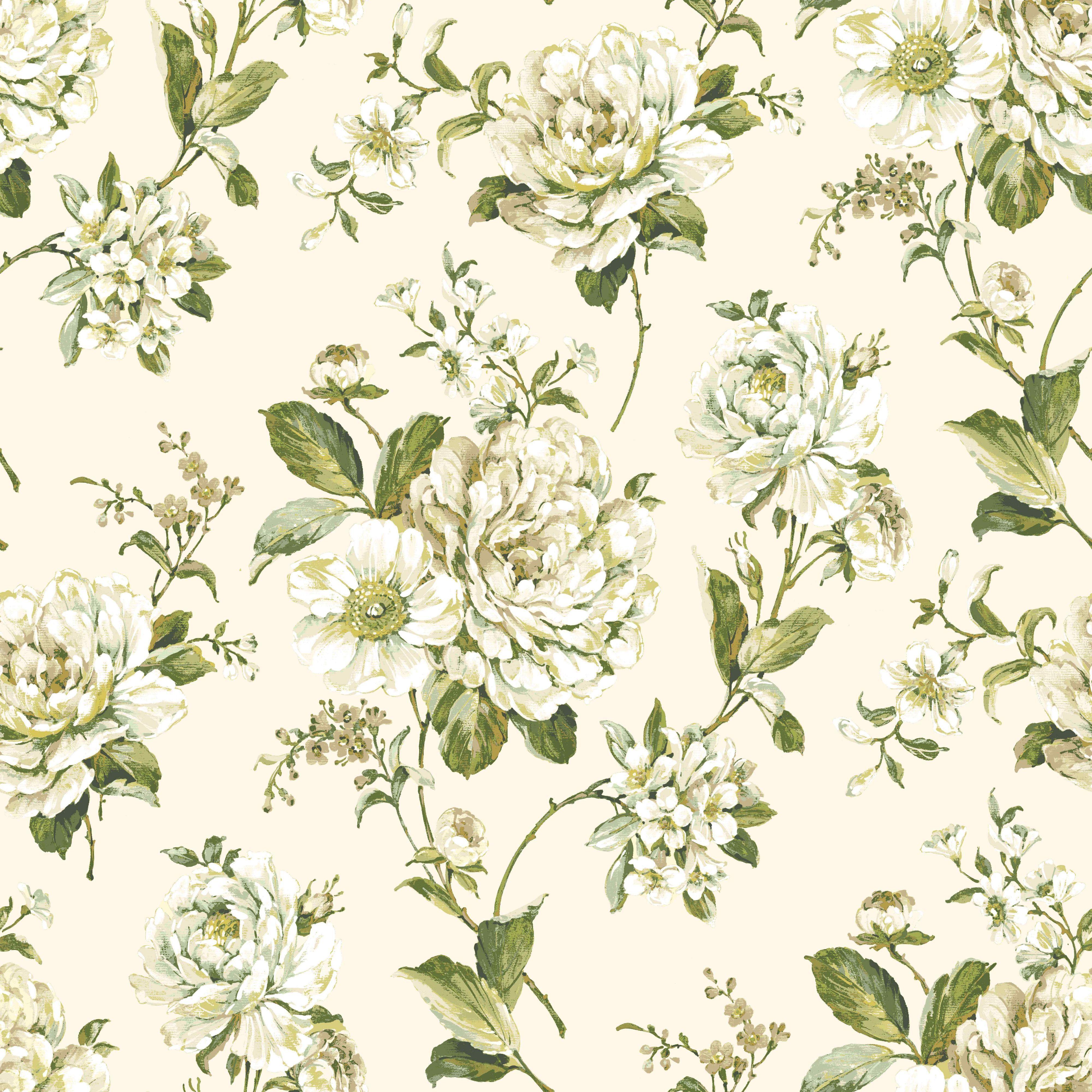 Bethany Floral Cream & Green Wallpaper Departments DIY