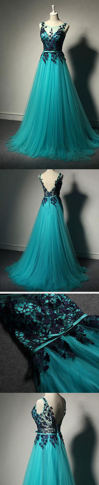 Blue and green prom dress  Hot Sales Navy Blue Lace Green Prom Dresses Evening Dress Back V