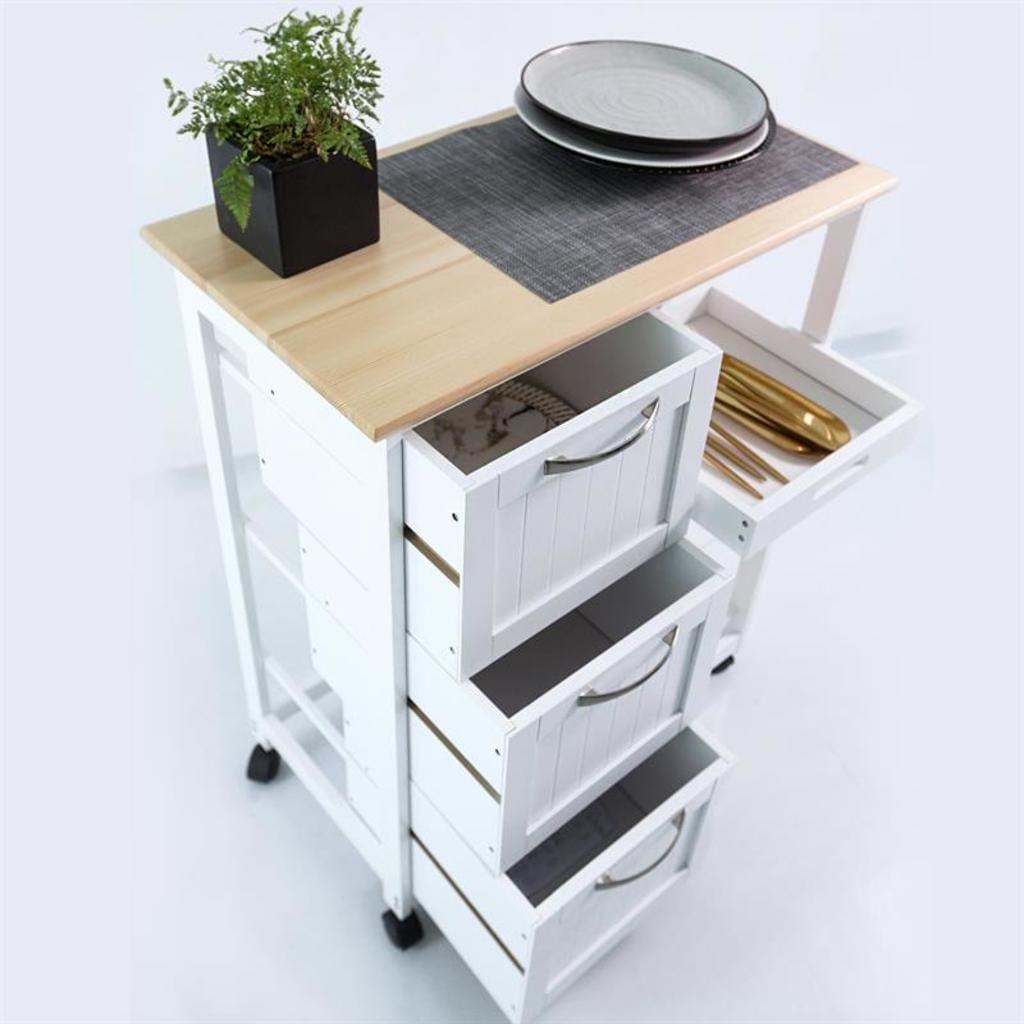Kuchenwagen Auf Rollen Mit 3 Schubladen 3 Ebenen Arbeitsplatte Aus Holz In 2020 Arbeitsplatte Servierwagen Umbau Kleiner Kuche