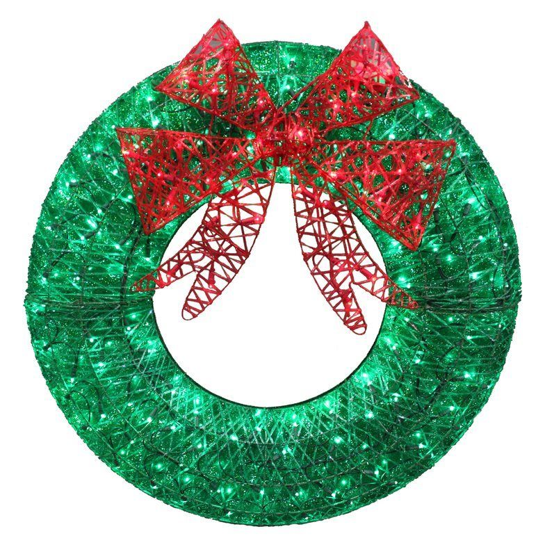 36in LED MultiColour Green Artificial Christmas Wreath