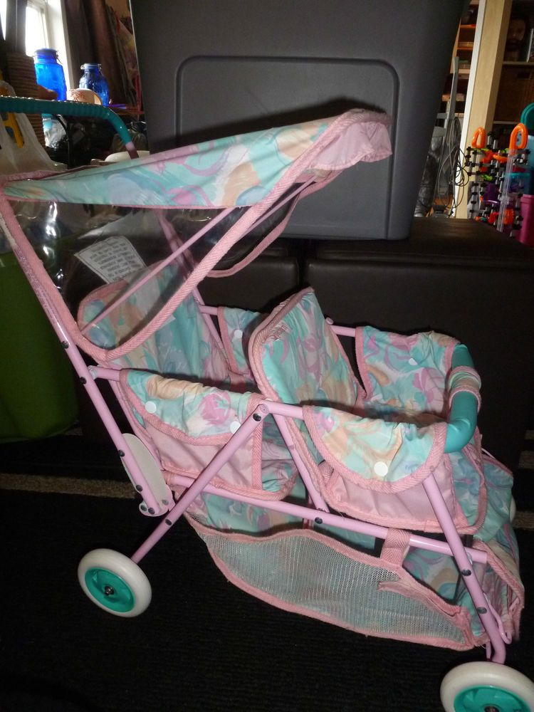 Toddler Baby Double Stroller Girls Flower Spectrum Double Twin Front Back Baby Doll