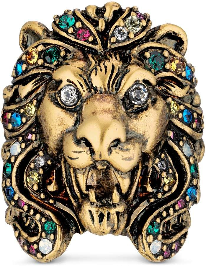 Photo of Gucci Lion head ring with multicolor crystals
