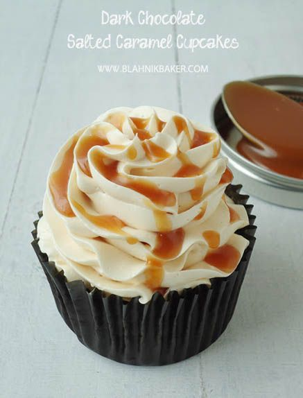 Dark Chocolate Salted Caramel Cupcakes with Salted Caramel Swiss Meringue Buttercream Frosting