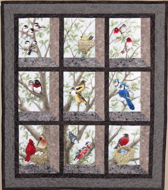 Quilted and pieced wall hanging attic window birds in by for Window pane quilt design