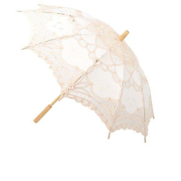 Artwedding Scallop Edge Embroidery Pure Cotton Lace Wedding Umbrella... (815 RUB) ❤ liked on Polyvore featuring accessories, umbrellas and lace umbrella