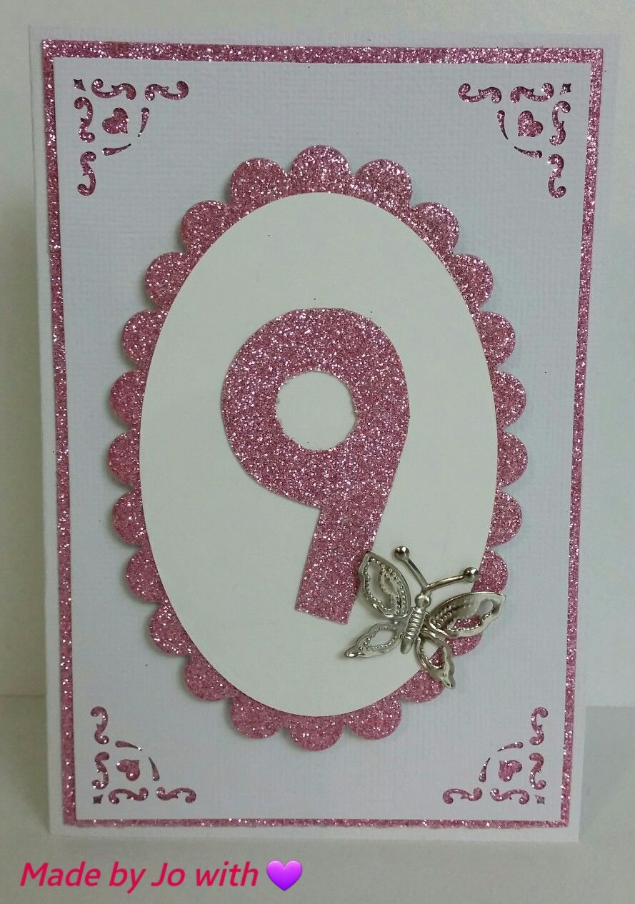 Hand made card - girl birthday - pink glitter and white, silver ...