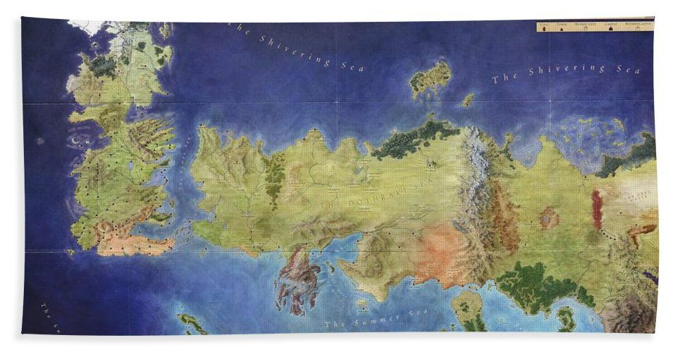 Game Of Thrones Map Game Of Thrones Known World Map Beach Towel For