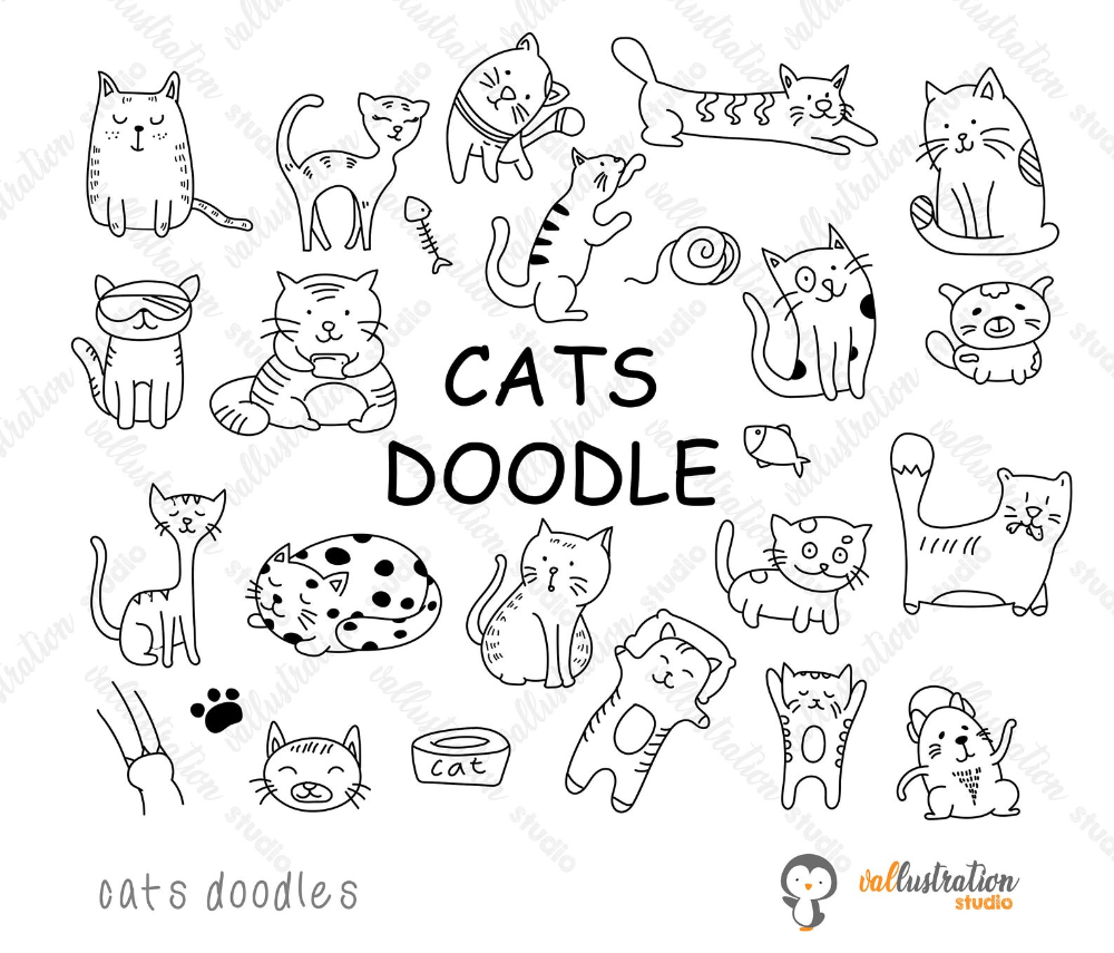 Cats Clipart Cats Doodle Cats Kitten Funny Cats Cute Etsy Cat Doodle Cat Clipart Hand Doodles