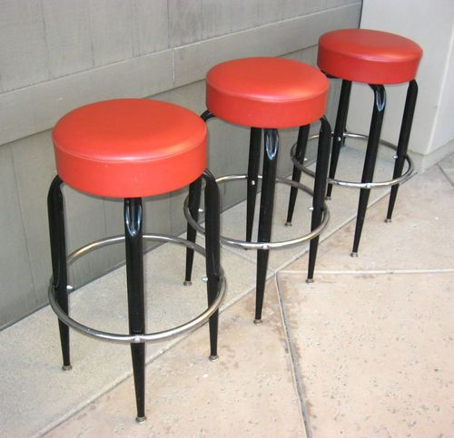 Set Of 3 Mid Century Modern Metal Red Bar Stools Vintage Bench