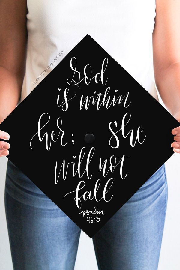 Graduation Cap Decal | DOWNLOAD ONLY | Gold Background | Bible Verse | God is Within Her; She Will Not Fall | Psalm 46:5