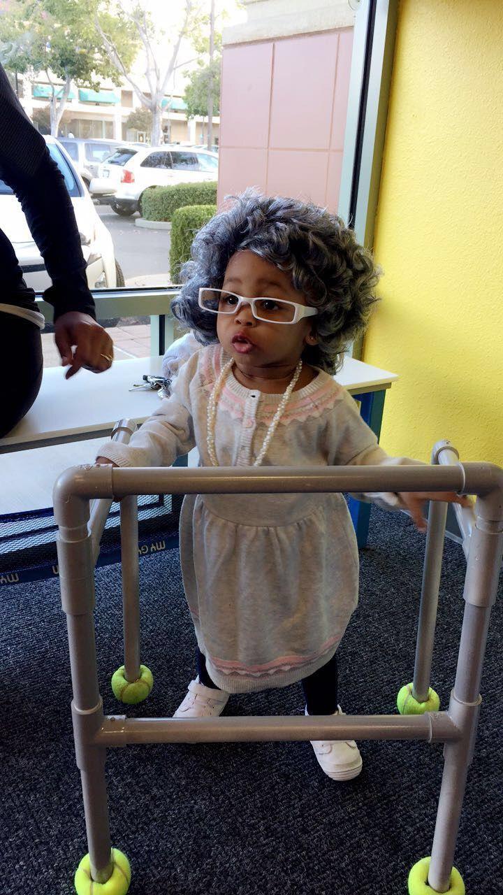 Halloween costume, baby walker, DIY, Grandma, Old Lady Wig