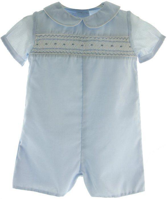 001ea049f Infant Boys Blue Smocked Baptism Christening Outfit Shortall Romper ...