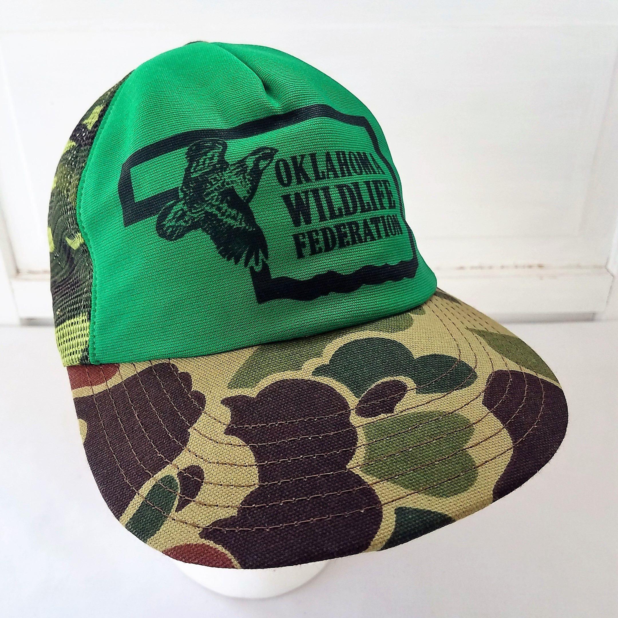 4e7df7be4a81b Oklahoma Wildlife Federation Camo Trucker Snapback Hat Cap Mesh Vintage  Green by TraSheeWomen on Etsy  oklahomawildlifefederation  oklahoma   wildlife ...