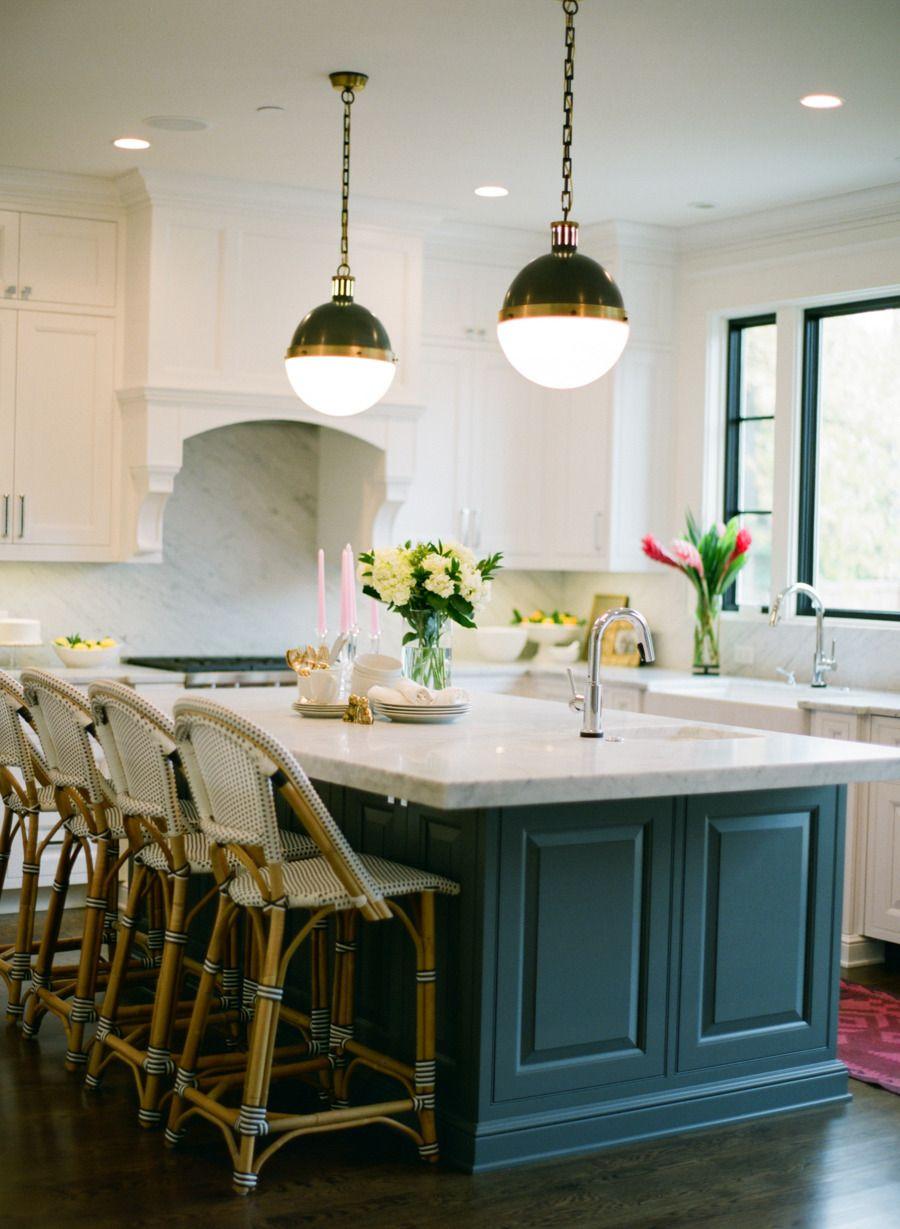 Bistro stools kitchen island pendant lights cocina pinterest