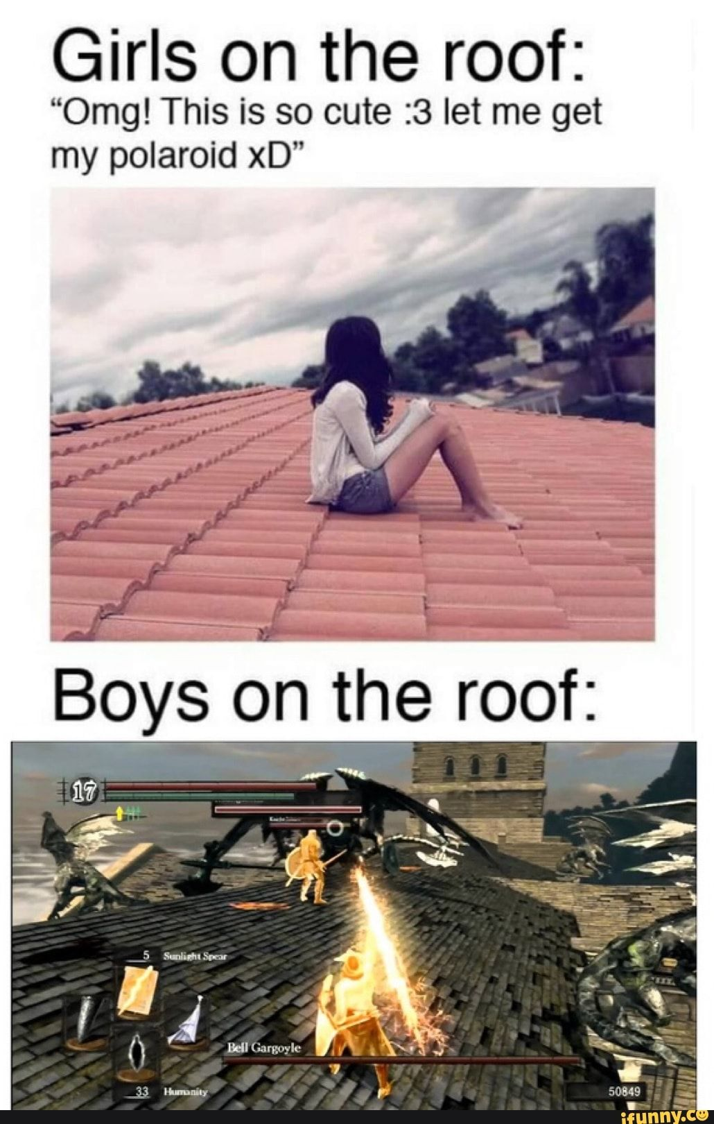 Girls On The Roof 0mg This Is So Cute 3 Let Me Get My Polaroid Xd Ifunny Funny Gaming Memes Really Funny Memes Halo Funny