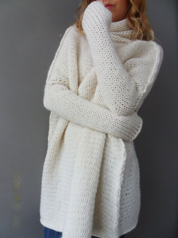 Oversized Slouchy Loose knit sweater. Chunky knit Alpaca white women  sweater jumper pullover tunic a280e7044