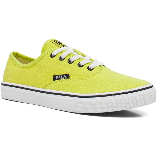 FILA Neon Green Classic Sneaker ($20) ❤ liked on Polyvore featuring shoes, sneakers, neon green shoes, fila, fila sneakers, fila footwear and fila shoes