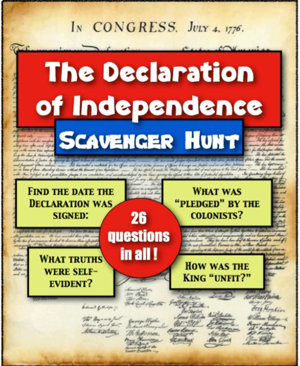 Photo of Declaration of Independence American History Scavenger Hunt | Distance Learning