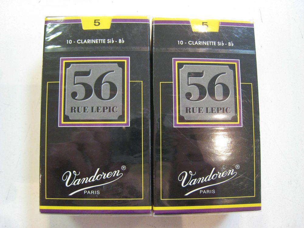 Vandoren CR505 Bb Clarinet 56 Rue Lepic Reeds Strength 5; Box of 10