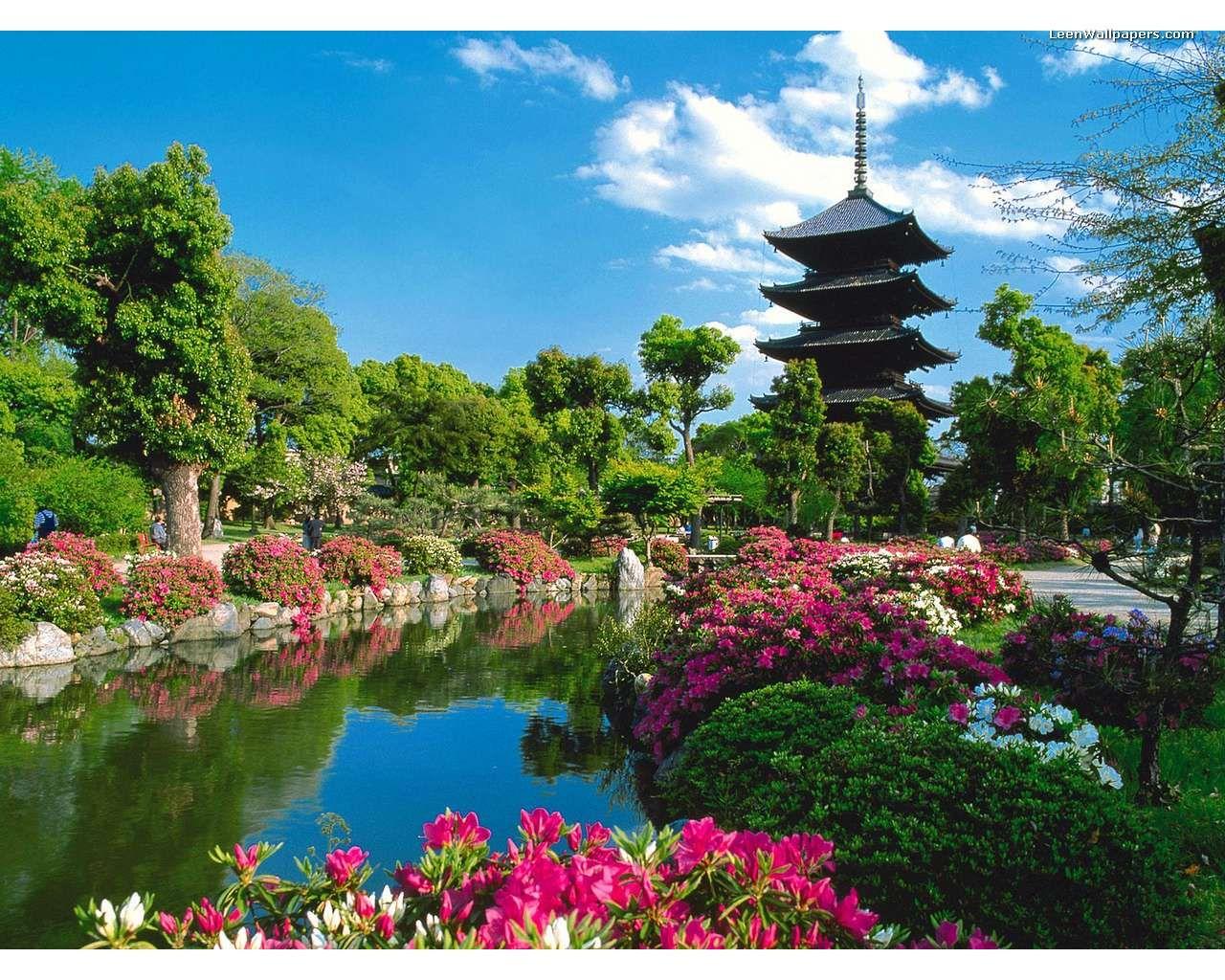 free desktop wallpaper beautiful day in japan garden