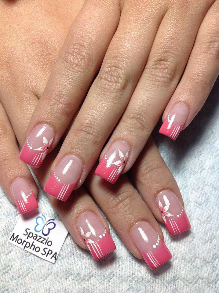 Rosado con blanco | nails | Pinterest | Manicuras