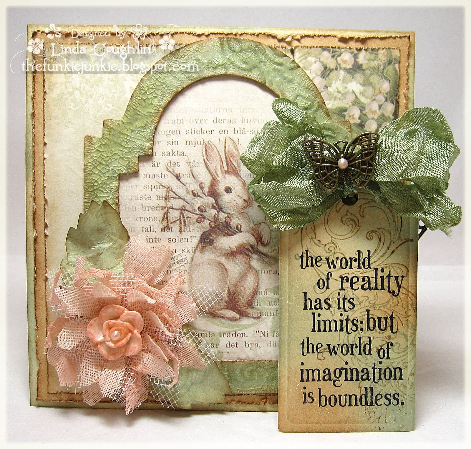 Work of Linda Coughlin aka The Funkie Junkie using Pion Designs Fairytale of Spring paper available in the Funkie Junkie Boutique on Zibbet.