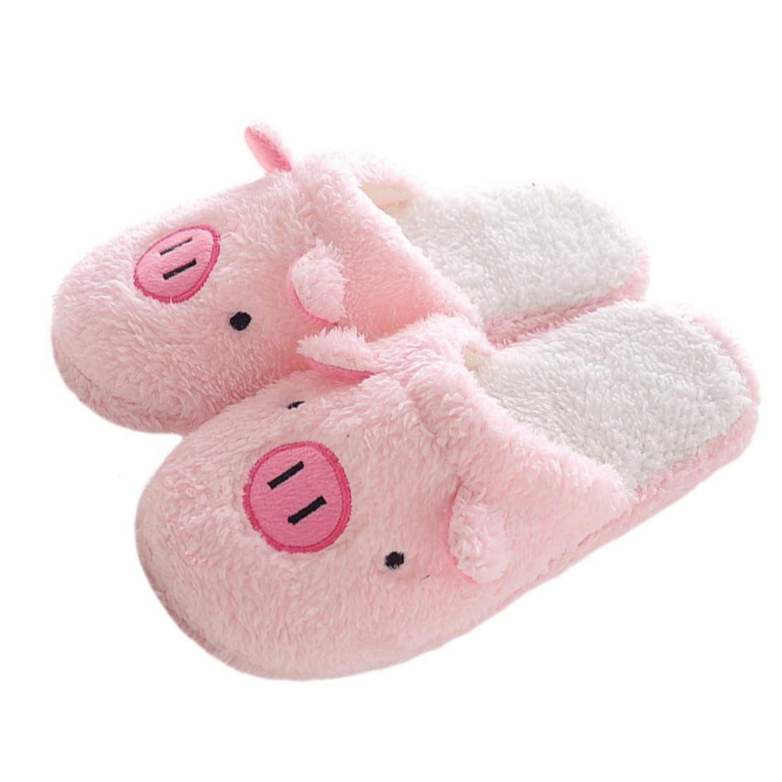 L-RUN Womens House Slipper Cotton Indoor Home Slipper Warm Pink