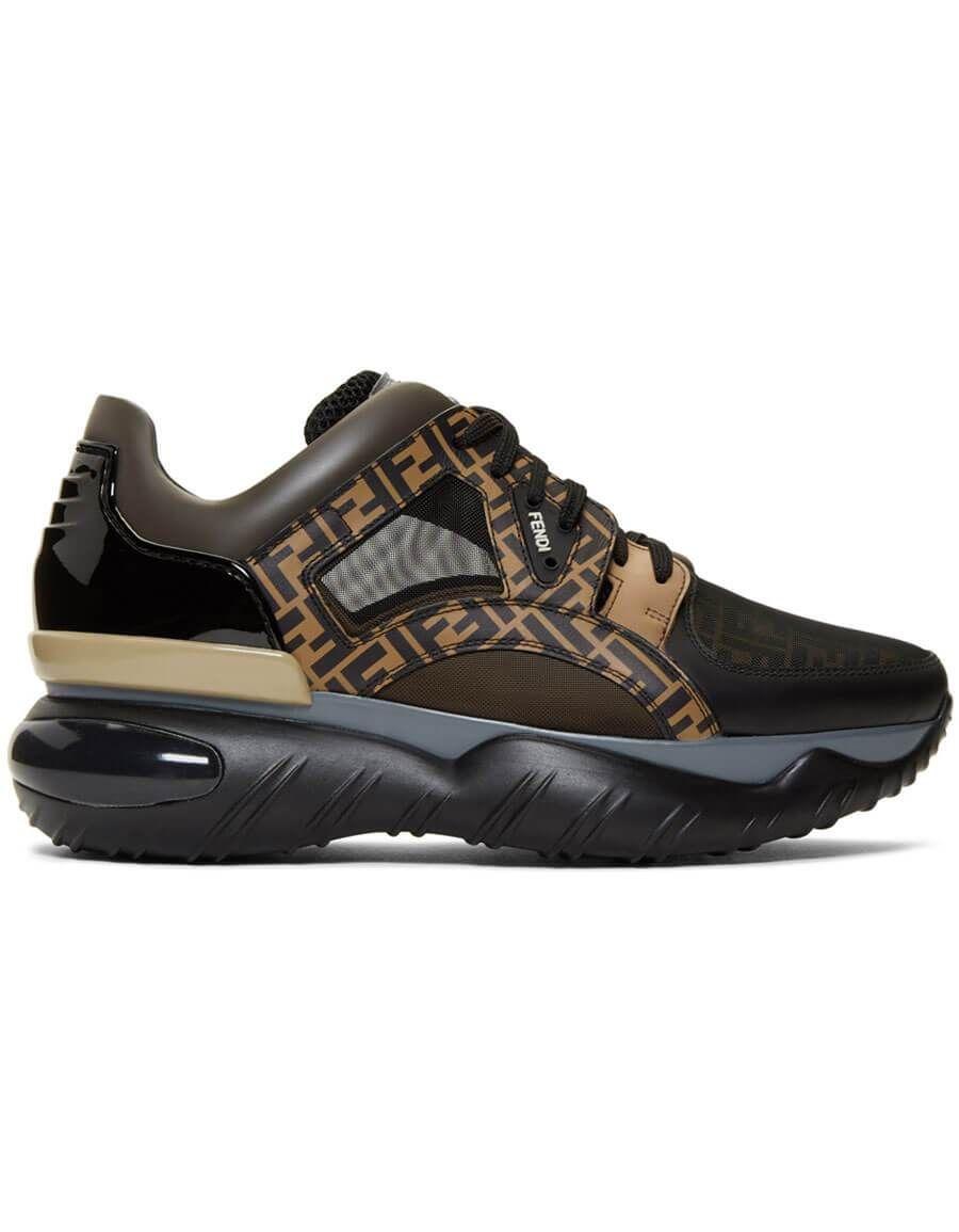 46a1bf65 h3>FENDI</h3> Black & Brown 'Forever Fendi' Sneakers in 2019 | Men ...