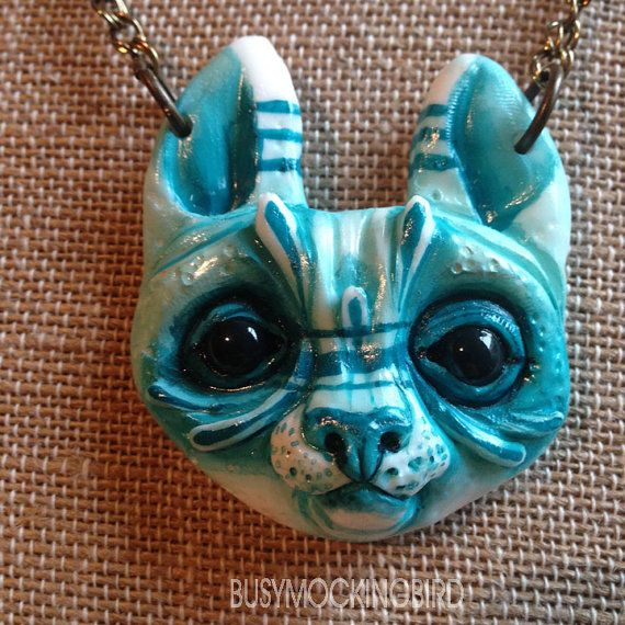 Blue Kitty Creeper Necklace by busymockingbird on Etsy