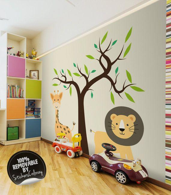 Nursery zoo wall decals, Safari wall decor, Tropical animals wall ...