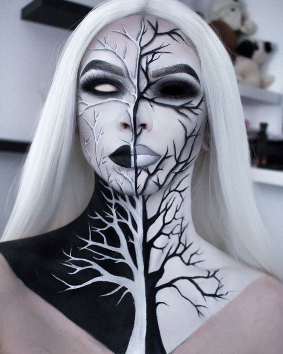Withered Mocohrome Tree #haloween #halloweenmakeup #makeup #halloweenmakeupideas… - Schönheit #makeupideas