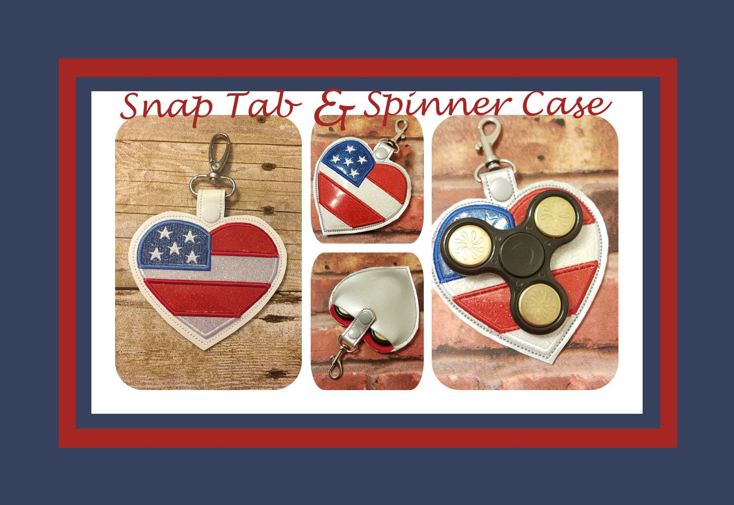 COMBO ITH Embroidery Designs, American Heart Spinner case for 4.5, 5, 5X7, 6X10 hoops & SnapTab/Key Fob for 3.9, 4.5, 5, 5X7, 6X10 hoops by PrettyNStitches on Etsy